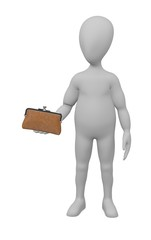 3d render of cartoon character with purse