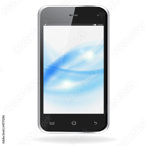 Realistic mobile phone with blue waves on screen isolated on whi