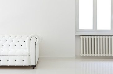 interior, leather sofa  in white room, detail