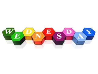 wednesday in 3d coloured hexagons