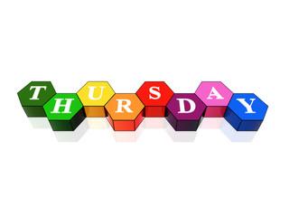 thursday in 3d coloured hexagons