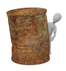 3d render of cartoon character with rusty can