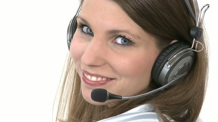 Callcenter Agent turns around and smiles