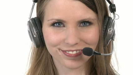 Callcenter Agent puts her headphones on
