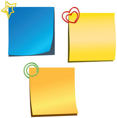 Sticky notes with paper clips