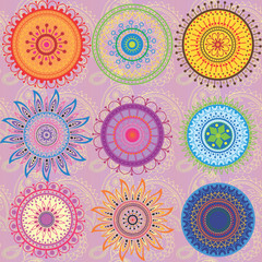 A set of 9-colored mandalas