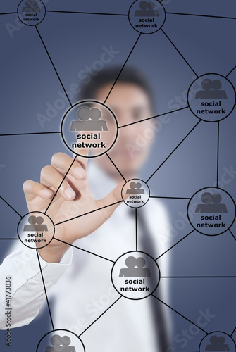 Businessman write Social Network diagram.