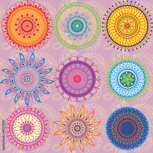 A set of 9-colored mandalas - 41773858