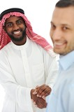 Arabic and european american business man making a deal and hand