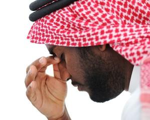 Arabic businessman stressed in crisis concerns