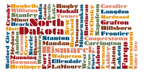 word cloud map of North Dakota state, usa