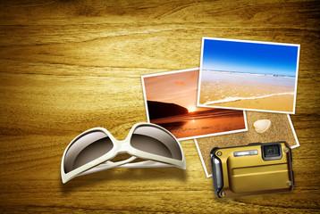 beach photos on desk