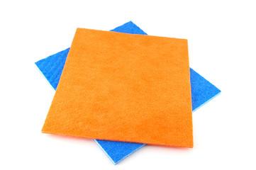Orange and blue napkins over white