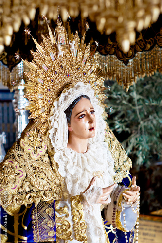 holy week in Malaga, Spain. Grace virgin.