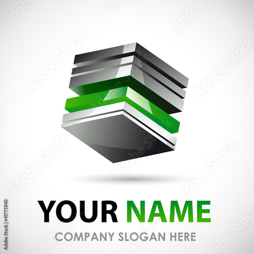 Green Logo Business design 3D