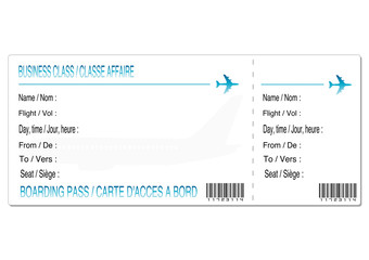 carte d'embarquement classe affaire