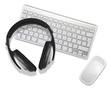 headphones on desktop computer
