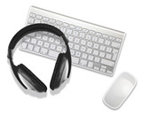 headphones on desktop computer