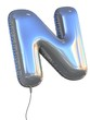 letter N balloon 3d illustration