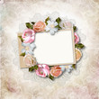 Vintage background with stamp-frame and roses
