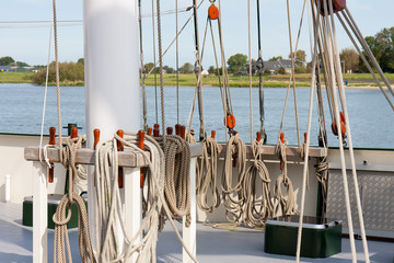 Rigging at the deck of a sailing clipper