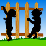 wooden fence with baby silhouette