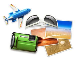 travel items white background
