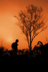 Silhouette of the man looking