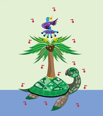 Turtle, palm tree and bird.