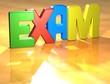 Word Exam on yellow background