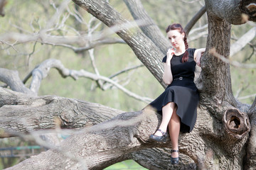 The woman on a tree