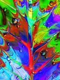 Fototapety Foglia-Astratto Psichedelico e Gocce-Psychedelic Leaf and Due