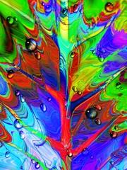 Foglia-Astratto Psichedelico e Gocce-Psychedelic Leaf and Due