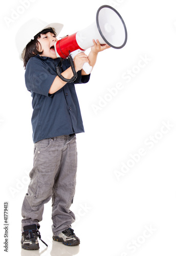 Boy screaming nd wearing helmet