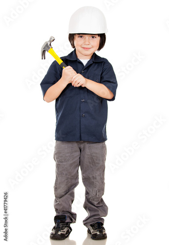 Boy playing a builder