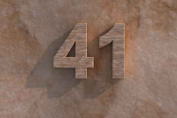 The number 41 carved from marble on marble base