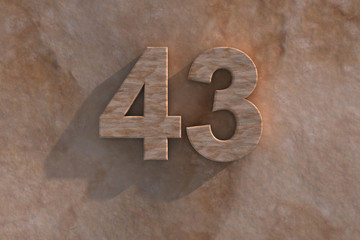 The number 43 carved from marble on marble base
