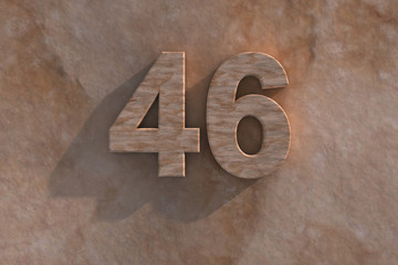 46 in numerals in mottled sandstone