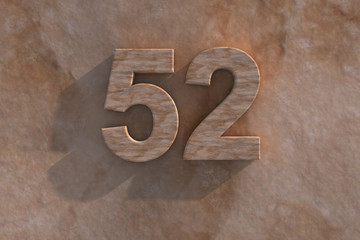 The number 52 carved from marble on marble base