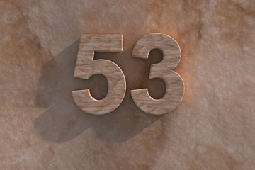 The number 53 carved from marble on marble base