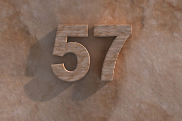 The number 57 carved from marble on marble base