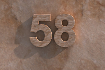 The number 58 carved from marble on marble base