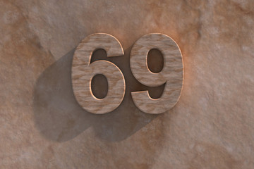 69in numerals in mottled sandstone
