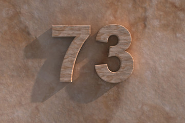 73 in numerals in mottled sandstone