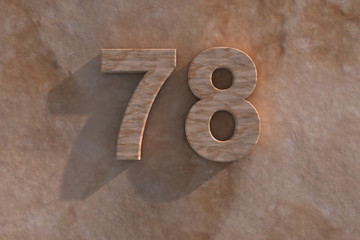 78 in numerals in mottled sandstone