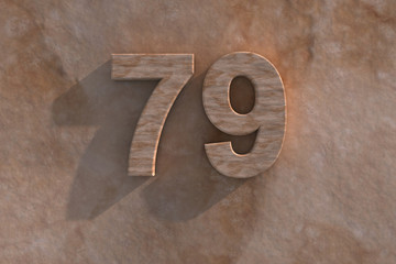 79 in numerals in mottled sandstone
