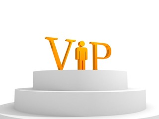 concept vip podium with golden letters and man person