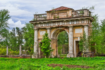 Ancient arch in an abandoned mansion
