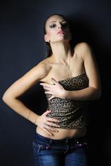 beautiful girl model in leopard topic