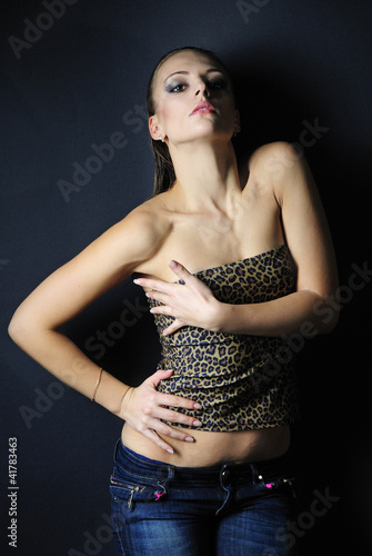 beautiful girl model in leopard topic